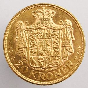 1914 denmark gold coin 20 crowns
